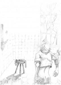 La petite salle de correction carreléer de blanc