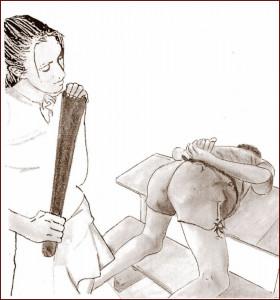 Jamie en position pour le fessoir